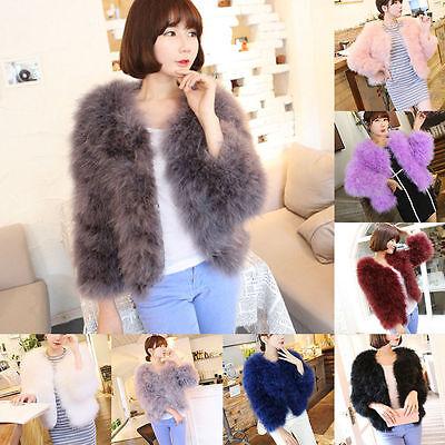 Hot Women Real Fur Ostrich Feather Fur Coat Jacket winter Fashion Luxury Outwear