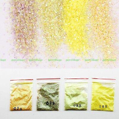 4 Pcs/set Lemon Yellow Gradient DIY Nail Art Glitter Powder For UV Gel Acrylic