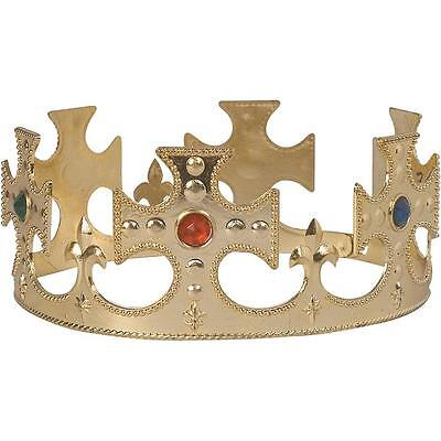 Gold Maltese Crown Royal King Fancy Dress Halloween Adult Costume Accessory