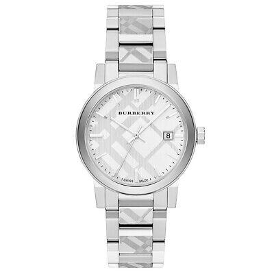 Nuevo Burberry BU9037 Unisex Grabado Cuadros Reloj - 2 Años Garantia