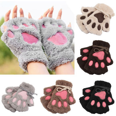 Winter Women Cute Cat Claw Paw Plush Mitten Short Fingerless Gloves Half Finger - Cat Paw Gloves