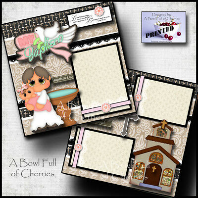 BAPTISM BABY GIRL  2 premade scrapbook pages paper printed layout 4 album CHERRY