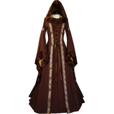 Women's Vintage Medieval Dress Costume Hooded Victorian Renaissance Gothic Dress (Victorian Costume Women)
