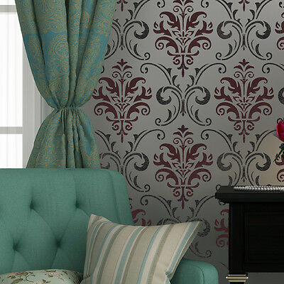 Wall Stencil Pattern Damask Allover Reusable Carol for Wall Decor and More