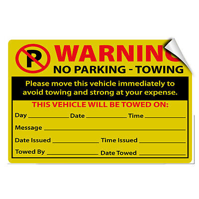 Move Vehicle - Warning No Parking Towing Move Vehicle Immediately LABEL DECAL STICKER