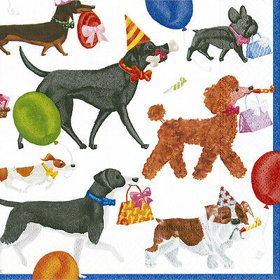 Winston and friends Dog Party Caspari paper napkins 20 pack 33cm sq 3 ply