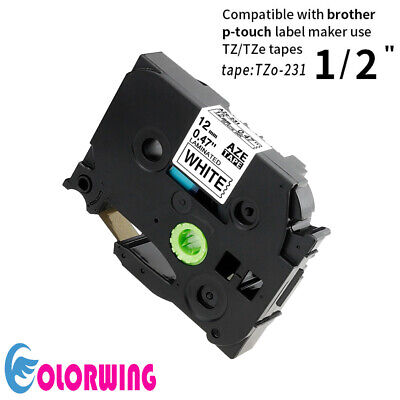 1PACK TZe231 Lable Tape Compatible with Brother P-Touch Black on White