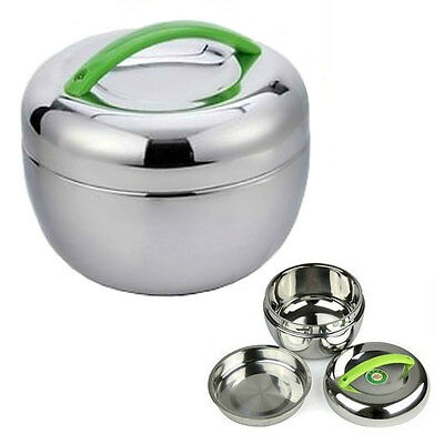 STAINLESS STEEL INSULATED LUNCH BOX 1 liter 30 oz Bento Tiffin Stacking Travel