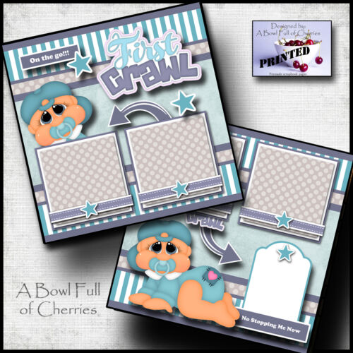 BABY 1st CRAWL ~ boy 2 premade scrapbook pages paper printed layout ~ BY CHERRY