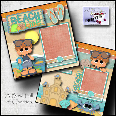 Cherry Scrapbooking Paper - BEACH LIFE ~ boy 2 premade scrapbooking pages paper piecing printed ~BY CHERRY