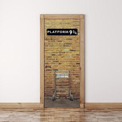 Door Mural Harry potter Platform 9 3/4 - Self Adhesive Door Skin, Cover, Wrap