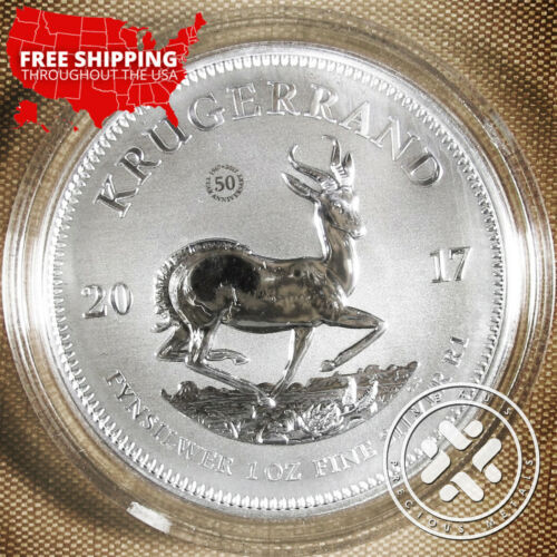 2017 1 oz South African Silver Krugerrand Coin Premium In Air-Tite Capsule + COA