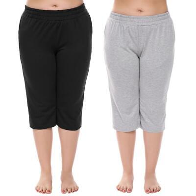 Plus Size Women Elastic Waist Solid Slim Athletic Capri Pants BTL8 01