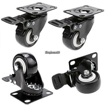 4 Pcsset 2 Caster Wheel Beach Chair Swivel Plate Total Lock Brake Polyurethane