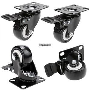 4 Pack 2 Low Profile Casters Wheels Swivel Caster With 360 Degree Top Plate Us