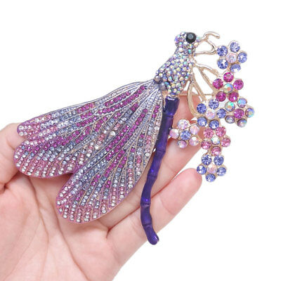 Austrian Crystal Dragonfly Pin - Animal Dragonfly Flower Purple Austrian Crystal Brooch Pin Gold Tone Women Gift