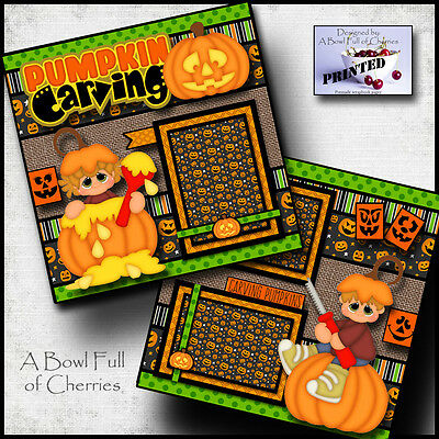 Halloween Pumpkin Carving (PUMPKIN CARVING ~  halloween 2 premade scrapbook pages paper PRINTED fall)