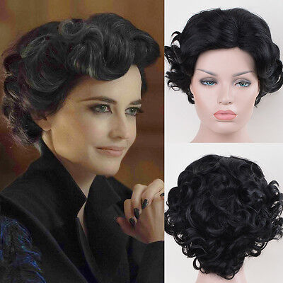 Miss Peregrine's Home for Peculiar Children cosplay short black curly wigs](Black Wigs For Kids)