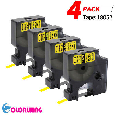 4x Compatible For Dymo 18052 Rhino Heat-shrink Tube Industry Label Tape 6mm 1.5m