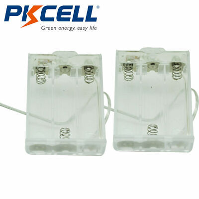 Transparent Battery Holder Case 3-aa Cells Box With 6 Cable Leads Switch 2pcs