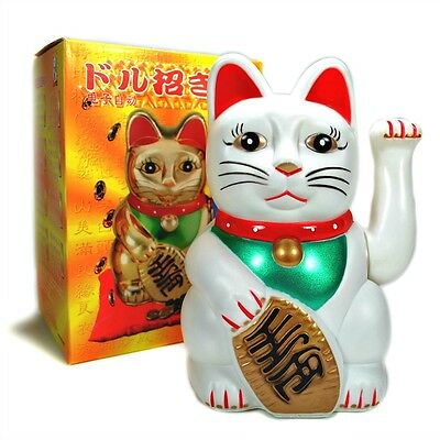 "LG BECKONING CAT Wealth Lucky Waving Kitty Maneki Neko 8"" Large White Japanese"