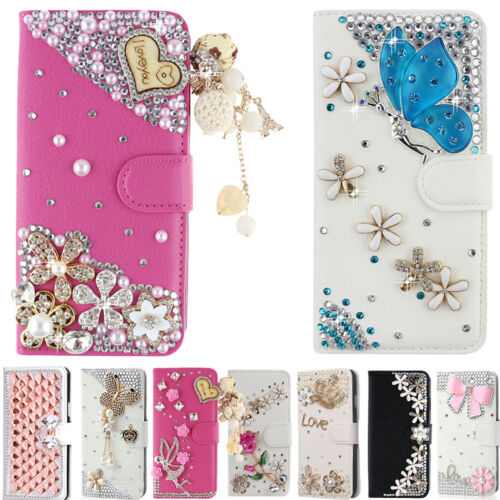 $9.95 - Luxury Bling Diamond Flip Leather Wallet Stand Soft Case Cover For LG Phones