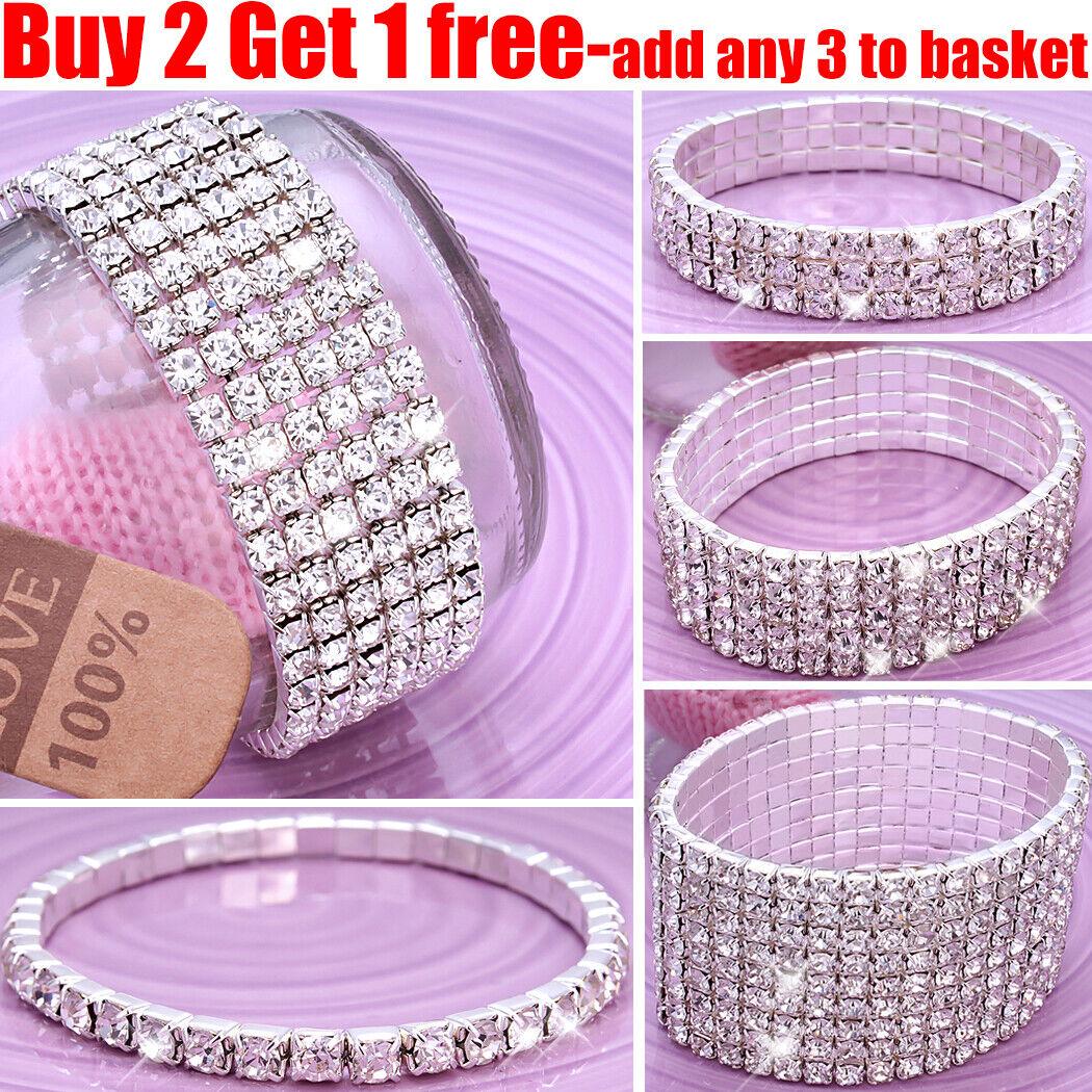 Jewellery - Full Crystal Rhinestone Bracelet Bangle Women Ladies Jewellery Wedding Party
