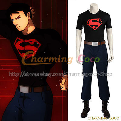 Young Justice Superboy Conner Kent Cosplay Costume Halloween Uniform Men Outfit