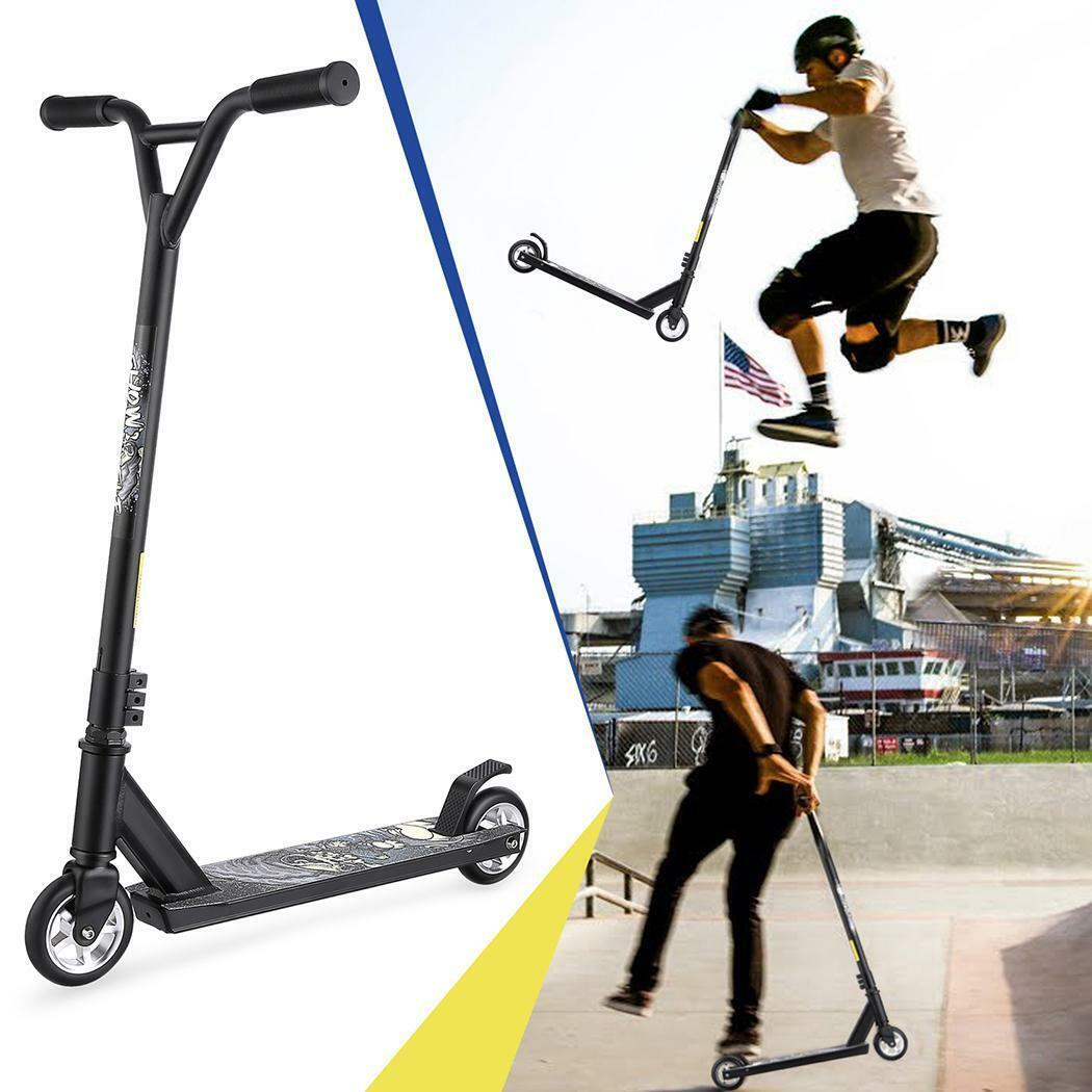 Pro Aluminum Stunt Kick Scooter Tricks Skatepark T-Handlebar