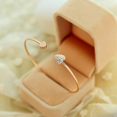 Fashion Jewelry Gift Love Heart Gold Rhinestone Crystal Bangle Cuff Bracelet