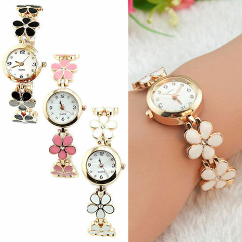 Fashion Women Flower Round Dress Watch Quartz Analog Bracele