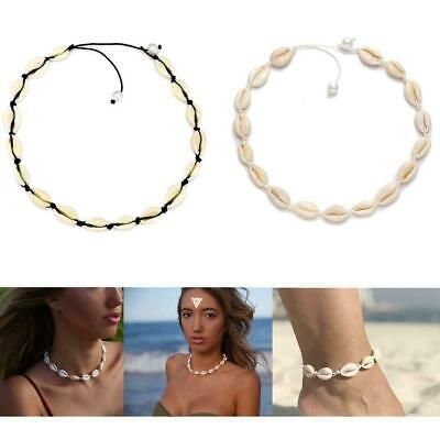 Women Beach Sea Shell Cowrie Pendant Choker Necklace Bracelet Anklet Jewelry - Bracelets Beach Shell Bracelets