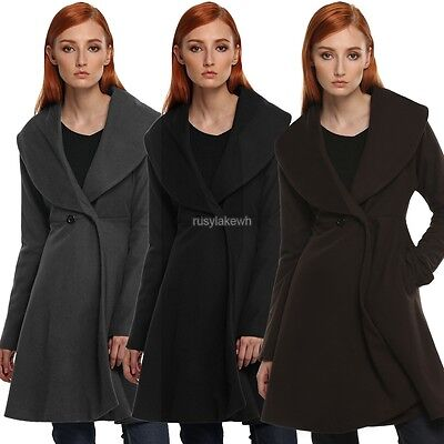 Elegant Women Wind Coat Long Sleeve Loose Solid Winter Cotton Long Jacket New
