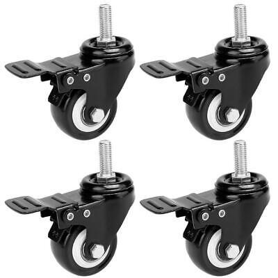 2 Swivel Casters Wheels Stem Break Casters With Brake Heavy Duty Pack Of 4