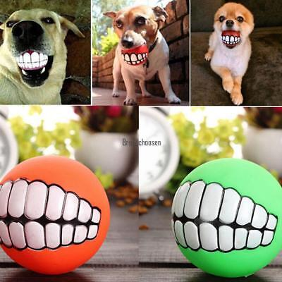 Pet Dog Puppy Play Squeaky Ball With Face Fetch Toy Ultra-thick Chew Sound GAME