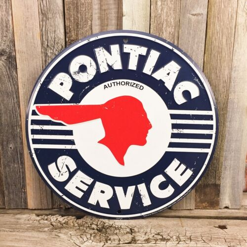 "Pontiac Service Round 12"" Embossed Metal Tin Sign Garage Car Man Cave New"