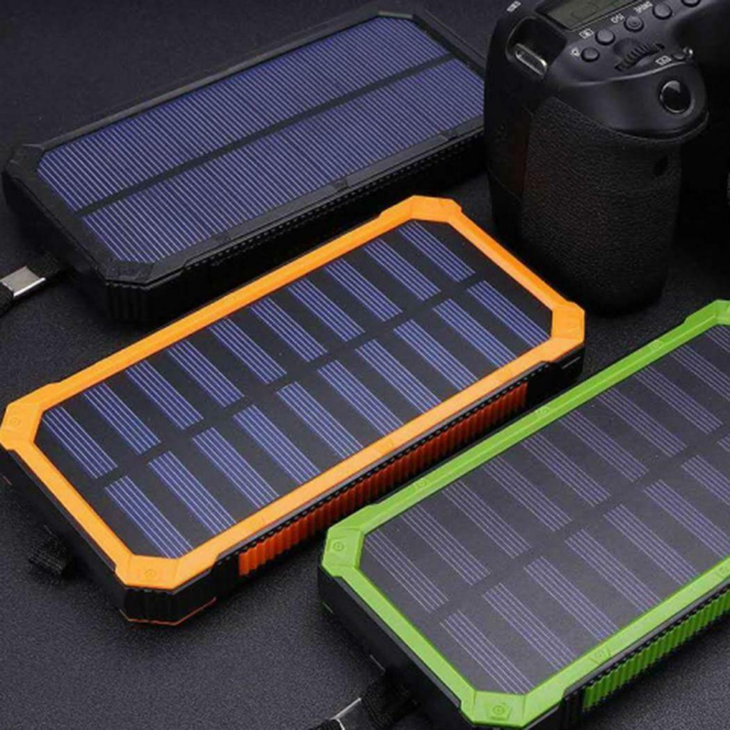 ✅10000mAh Solar Power Bank Battery Charger 2 USB Waterproof For Cell Phone US✅ Cell Phone Accessories