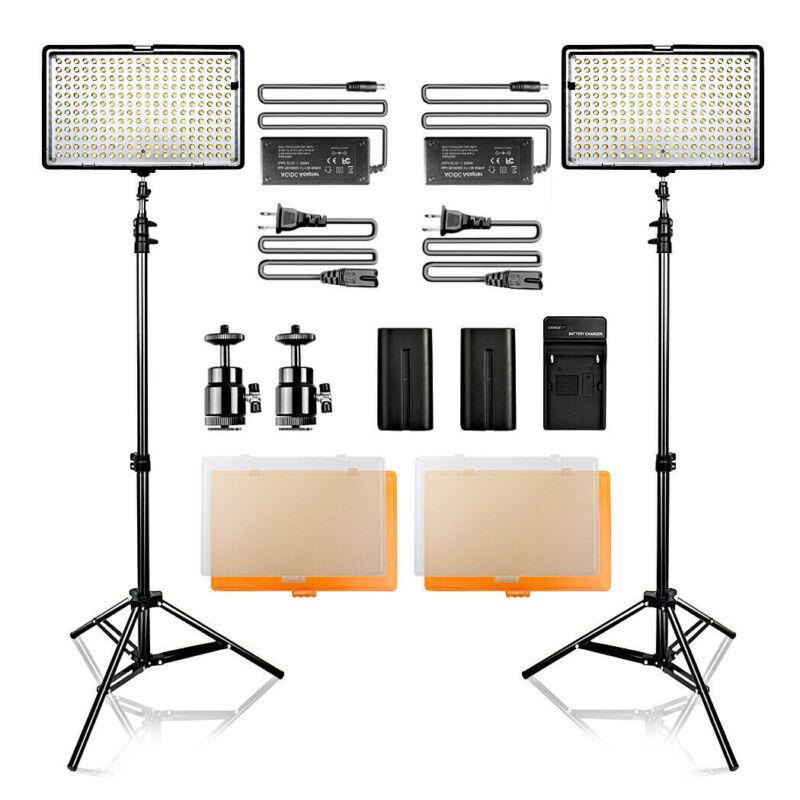 Travor 2PCS Dimmable LED Video Light Studio Lighting Kit + Stand USA STOCK