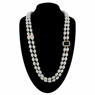 Necklace Layered 2 Strand Bead Gold Tone Faux Pearl Clear Jewel Accent Long 38