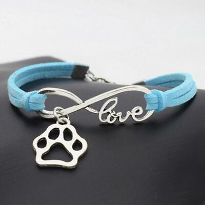 Armband Freundschaftsarmband blau silber Love Anhänger Pfote Hund Katze Charm (Freundschaft Charm Armbänder)