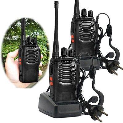 2x Baofeng BF-888S+2x Headset 5W Hand-Funkgerät Walkie Talkie-Set Funkgeräte 6km