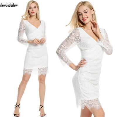 Women V-Neck Long Sleeve Slim Cocktail Party A-Line Lace Dress SDDS
