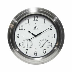 Infinity Instruments Churchill Round Indoor/Outdoor 18.5 inch Wall Clock, Silver