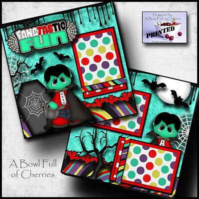 HALLOWEEN ~ vampire ~ 2 premade scrapbook pages paper printed layout ~BY - Halloween Scrapbook Layout Pages