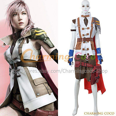Final Fantasy XIII 13 Cosplay Lightning Costume Women Halloween Uniform Outfit