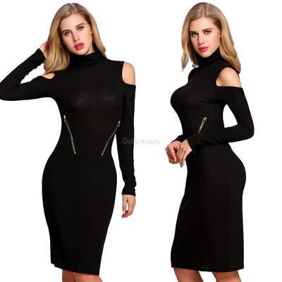 Women Turtleneck Cold Shoulder Long Sleeve Zip Bodycon Sweater Dress GFEQ