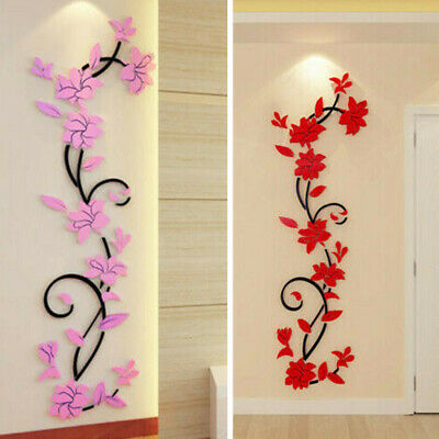 Home Decoration - 3D Flower Decal Vinyl Decor Art Home Living Room Wall-Sticker Removable Mural