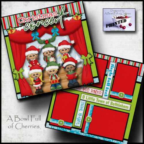 CHRISTMAS CONCERT ~ school church 2 premade scrapbook pages paper CHERRY #0129