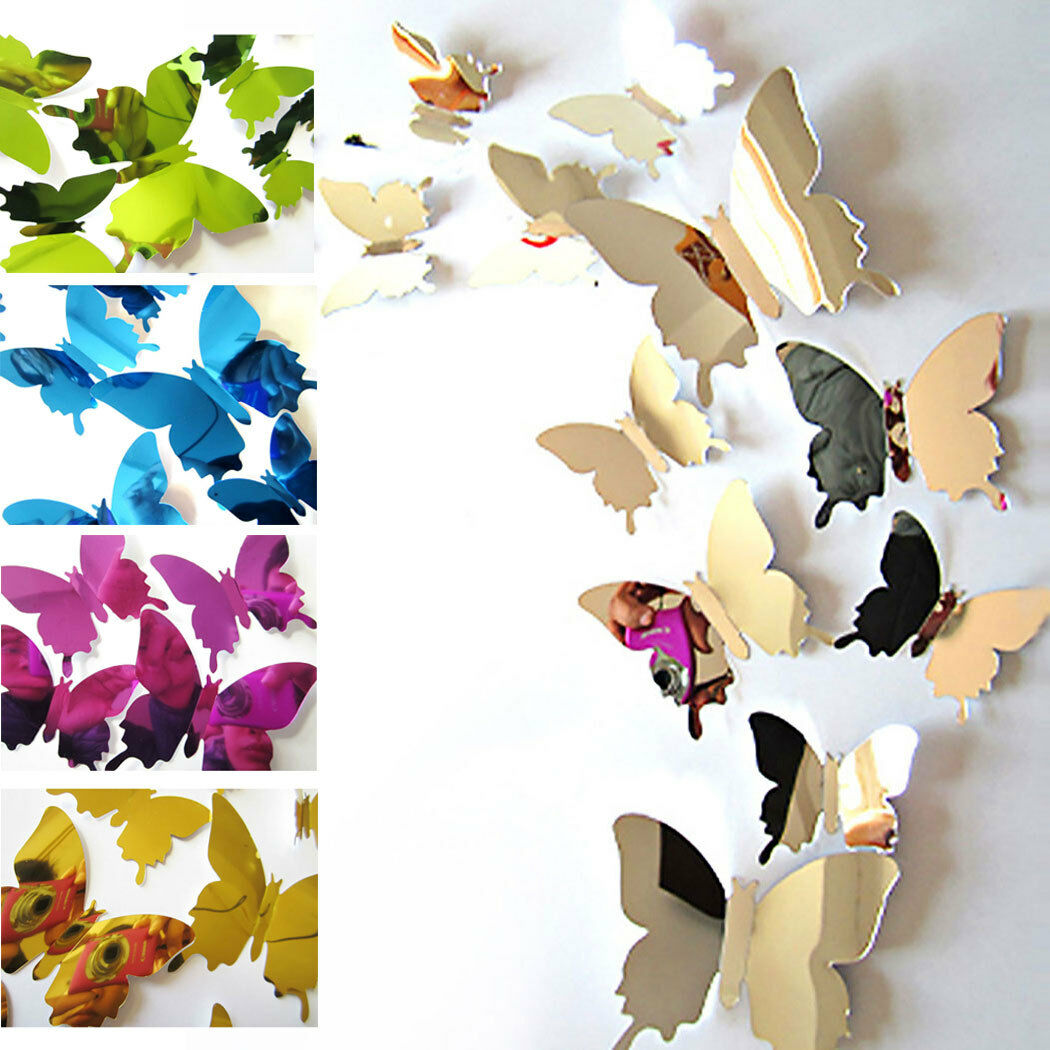 Home Decoration - 12PCS 3D Butterfly DIY Art Mirror Wall Stickers Home Decal Room Mural Xmas Decor