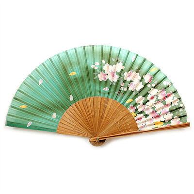 "SILK HAND FAN Green 8"" Folding Pocket Purse Asian Japanese NEW Floral Flowers"